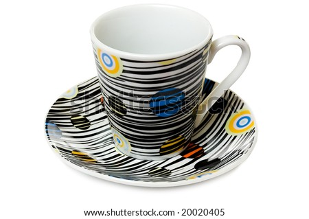 close-up of colorfull dish and cup for coffee, isolated on white - stock photo