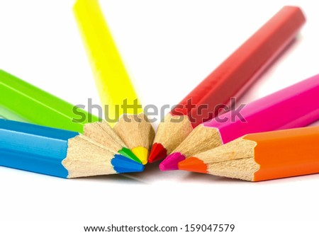 close up of colour pencils isolated on white background . - stock photo