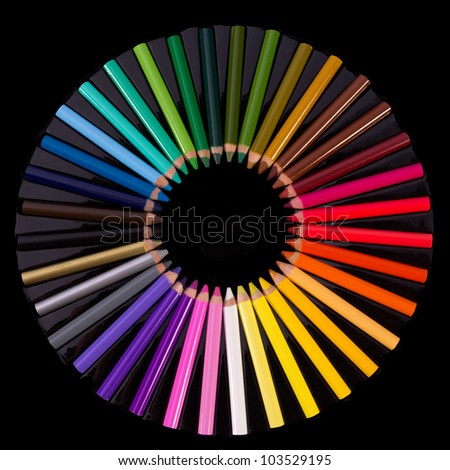close up of Colouring crayon pencils  on black background with clipping path - stock photo