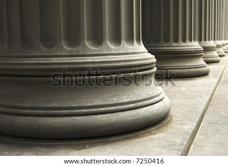 close-up of columns of a old building - stock photo