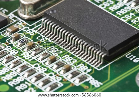 Close-up of computer chip - stock photo