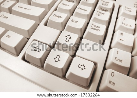 Close up of Computer Keyboard in Warm tone