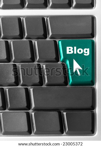 "Close-up of Computer keyboard,  with blue ""Blog"" key"