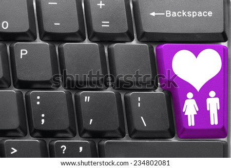 Close-up of Computer keyboard,  with Love key - stock photo