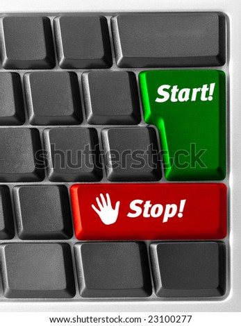 "Close-up of Computer keyboard with ""Start"" and ""Stop"" key"