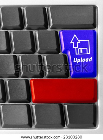 "Close-up of Computer keyboard with ""Upload"" key"