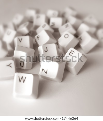 Close up of computer keys - stock photo