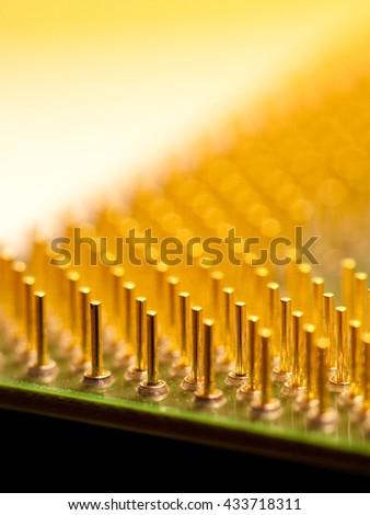 Close-Up of Computer Processor Golden Pin Array - stock photo