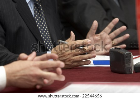 close up of conference meeting - stock photo