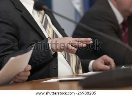 close up of conference meeting