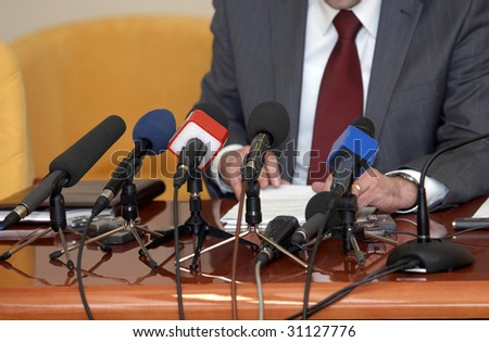 close up of conference meeting microphones - stock photo