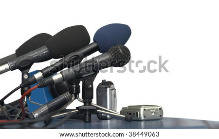 close up of conference meeting microphones on white background with clipping path