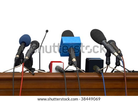 close up of conference meeting microphones on white background with clipping path - stock photo