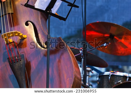Close up of contrabass on stage, - stock photo