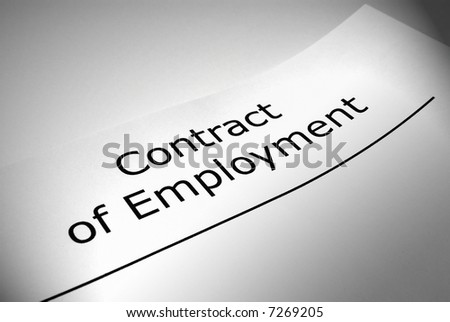 Close up of Contract of Employment title page