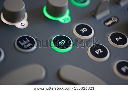 Close Up Of Controls On 4D Ultrasound Machine - stock photo