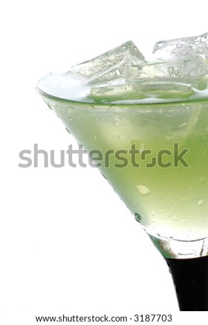 close-up of cool iced drink with ice cubes - stock photo