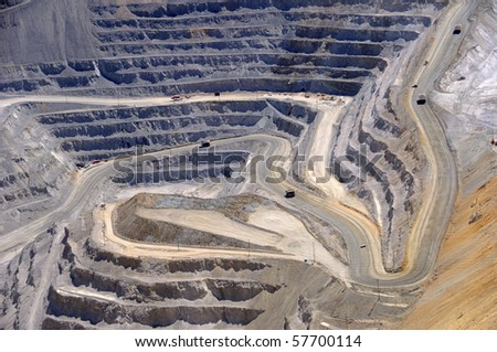 Close-up of Copper Mine Open Pit Excavation - stock photo