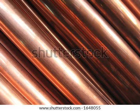 Close-up of copper pipes, abstract background - stock photo