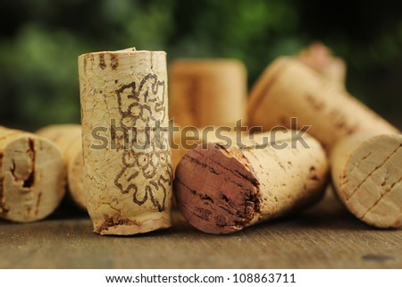 Close up of cork wine on a wooden table
