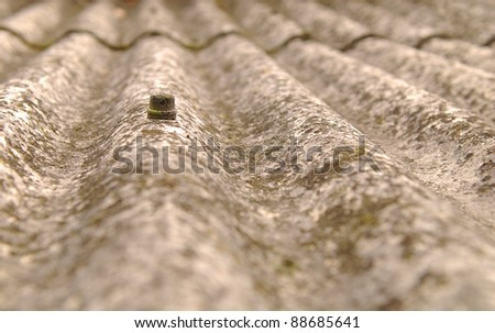 Close up of corrugated plate for roof covering - stock photo