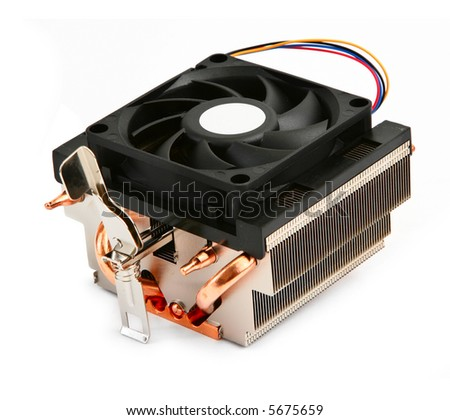 close-up of cpu cooler against white background, gentle natural shadow in front