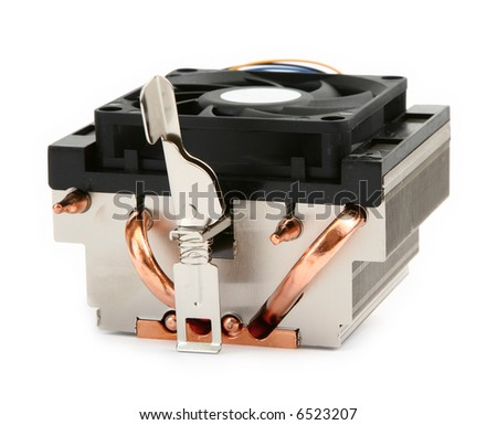 close-up of cpu cooler against white background, gentle natural shadow in front - stock photo