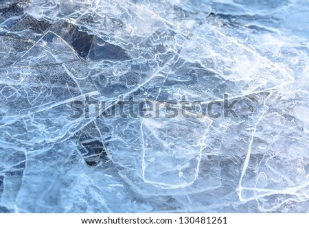 Close-up of cracked ice texture on river in spring time