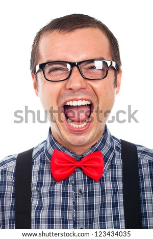 Close up of crazy funny nerd man laughing, isolated on white background.