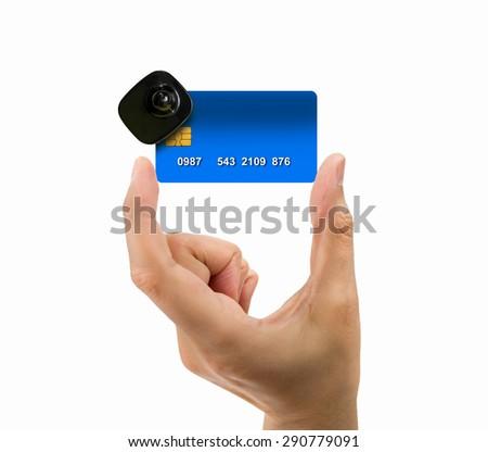 close up of credit card burglar alarm security concept with false data in credit card - stock photo
