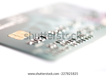 Close up of credit card on a white background - stock photo