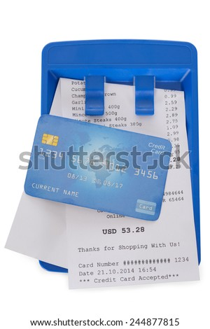 Close-up Of Credit Card On Shopping Receipt Over White Background - stock photo