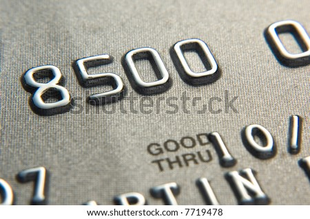 Close up of credit card showing partial numbers