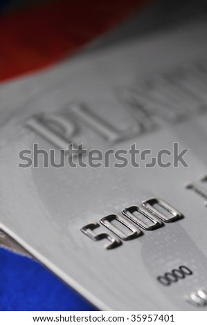 Close up of Credit Card with Shallow depth of field - stock photo