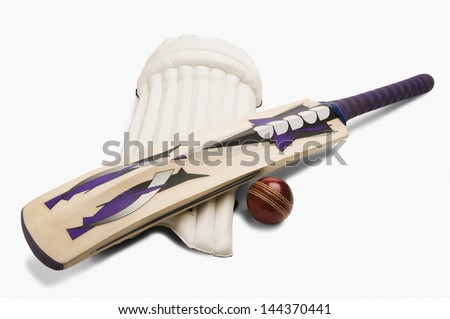 Close-up of cricket equipment - stock photo
