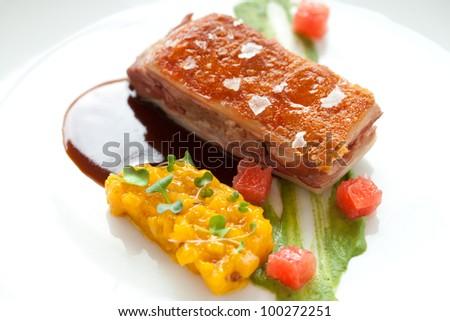 Close up of crispy pork fillet with mango chutney and Porto sauce. - stock photo