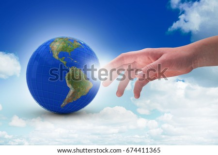 Close-up of cropped hand on white background against scenic view of blue sky