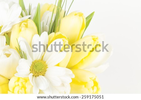 Close up of cross processed daisy and tulip bouquet with muted tones