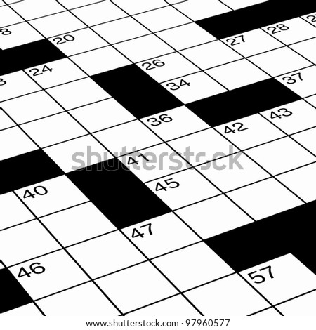 Close Up Of Crossword Puzzle As Detail Ready For Solving