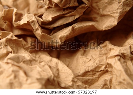 Close-up of crumpled brown paper - stock photo