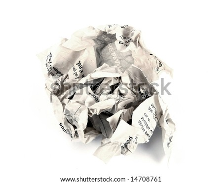 close-up of crumpled paper - stock photo