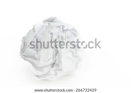 close-up of crumpled paper ball on white background - stock photo