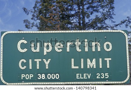 Close-up of Cupertino City Limit sign, Cupertino, Silicon Valley, California - stock photo