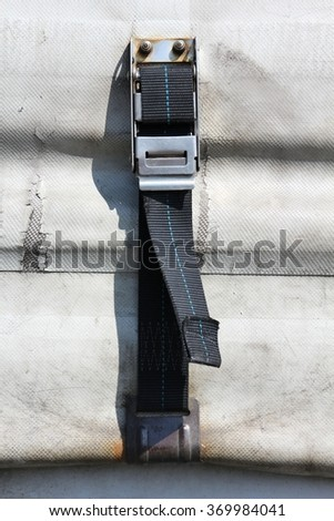 close up of curtain side trailer - stock photo
