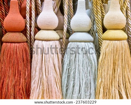 Close up of curtain ties as a background - stock photo