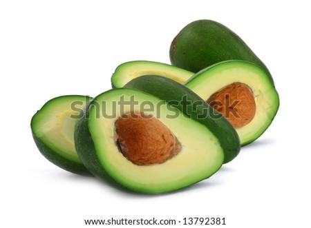 close-up of cut avocado fruit isolated on white background - stock photo