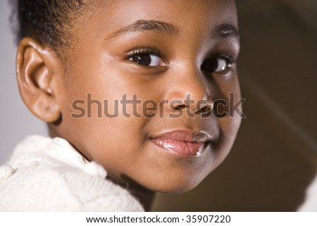 Close-up of cute little African American girl