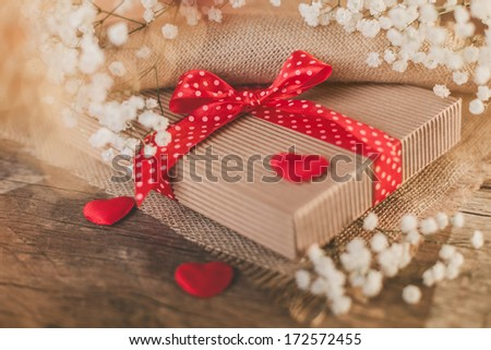 Close up of cute valentine's gift
