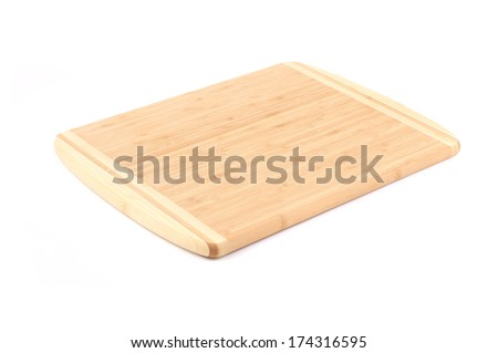 Close up of cutting board. Isolated on a white background. - stock photo