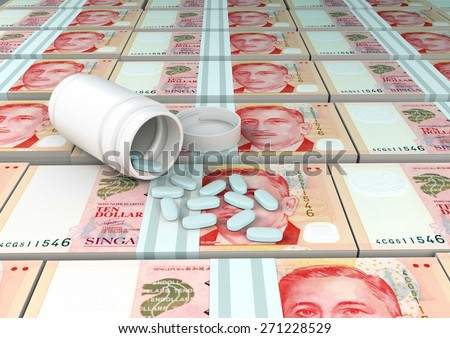 close up of 3D medicine, tablets pills on top of Singapore money  - stock photo